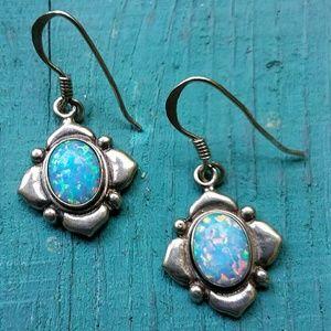 Vintage 925 Genuine Opal Dangle Earrings